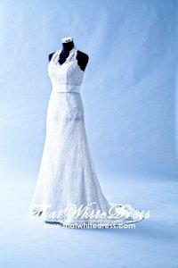 305W001 MR Halter Lace Aline Wedding Dress Designer Malaysia