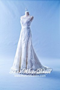 305W002 Aline Illusion Lace Cap Wedding Dress Designer Malaysia