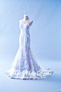305W010 AL Trumpet Halter Lace Oriental collar Wedding Dress Designer Malaysia