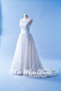 401W017 SSY Sleaveless A Line Illusioned Neckline Wedding Dress Designer Malaysia