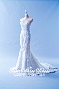 401W002 Trumpet Lace Heart shape Tube Single Tier Wedding Dress Designer Malaysia