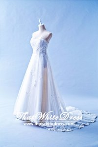 401W020 MR A Line Lace Heart High Waist Wedding Dress Designer Malaysia