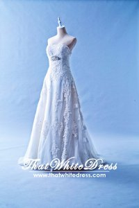 401W022 MR A Line Lace Long Waist Crystal Bust Wedding Dress Designer Malaysia