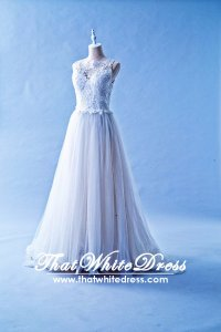 401W023 401W023 MR Illusioned Lace neckline Princess Wedding Dress Designer Malaysia