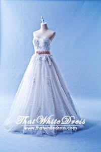 401WL003 HH A Line Sequins Heart Floor length Wedding Dress Designer Malaysia