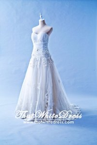 405WL02CS CS A Line pleated Heart Lace Wedding Dress Designer Malaysia