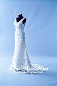 405W001 City Strap Lace V back Wedding Dress Designer Malaysia