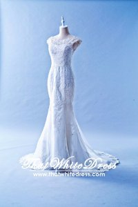 408W01 LL Illusioned neckline Trumpet Full Lace Wedding Dress Designer Malaysia