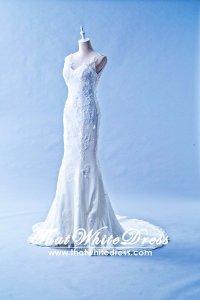 408W04 LL Illusioned neckline Strapless Trumpet Wedding Dress Designer Malaysia