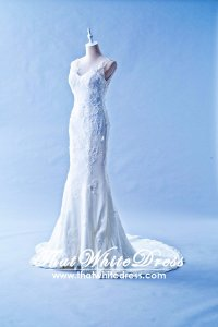 408W04 LL Illusioned neckline Strapless Trumpet Wedding Dress Designer Malaysia