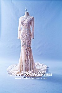 408W10 LL Long Sleeves Peach Wedding Dress Designer Malaysia
