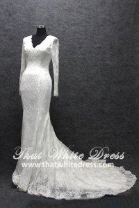 Silver - wedding gown S1408W12 LL Long Sleeves Kate Trumpet Mermaid Berta Bride