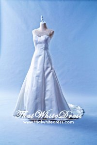 408W13 LL Duchesse satin A line illusion crystal neckline Wedding Dress Designer Malaysia