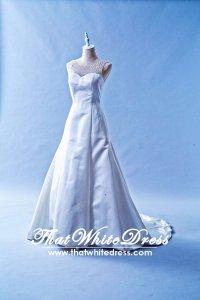 408W13 LL Duchesse satin A line illusion crystal neckline Wedding Dress Designer Malaysia