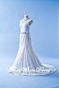 401W012 HH Trumpet Oriental sheer lace back Wedding Dress Designer Malaysia