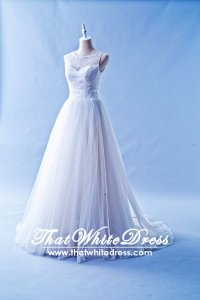 408W02 LL illusioned neckline Princess  Wedding Dress Designer Malaysia