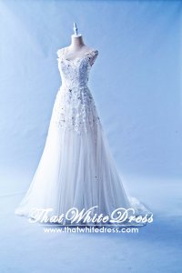 408W07 LL Illusioned neckline Princess Cap Wedding Dress Designer Malaysia