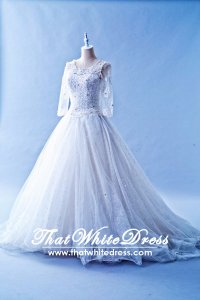 408W14 MM Princess Long Sleeves Wedding Dress Designer Malaysia
