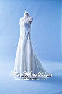 408W17 MM Illusion Chengsam high collar A line Wedding Dress Designer Malaysia