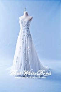 412W01 MM 3D Floral A Line Ellie Saab Wedding Dress Designer Malaysia