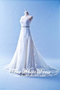 412W09 XJ A line lace crystal belt Wedding Dress Designer Malaysia