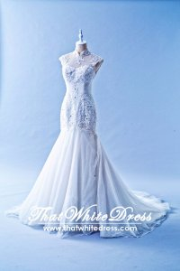 412W17 LL Oriental Trumpet Malaysia Wedding Dress Designer Rental