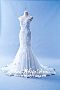 412W18 LL Illusion Neck Tie back Wedding Dress Designer Malaysia