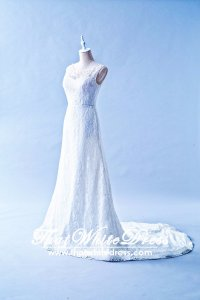 502W02 TY Illlusion Neck Chantilly Lace Wedding Dress Designer Malaysia