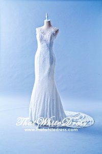 508QQ02 QQ Strap Illusioned Neck French lace Wedding Dress Designer Malaysia