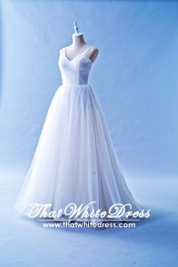 508W01 TY Strap V neck Low Back zip organza Wedding Dress Designer Malaysia