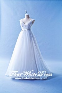 508W04 TY V neck Column Organza High Waist Wedding Dress Designer Malaysia