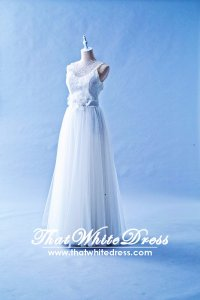 601W09 LY Illusion Neck Column Wedding Dress Designer Malaysia