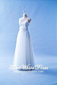 601W09 LY Illusion Neck Column Wedding Dress Designer Malaysia