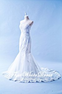 412W04 MM Tube Trumpet Sheer panel Wedding Dress Designer Malaysia