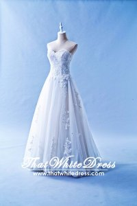 412W12 XJ Aline Full Lace  Sweet Heart no Belt Floor Wedding Dress Designer Malaysia