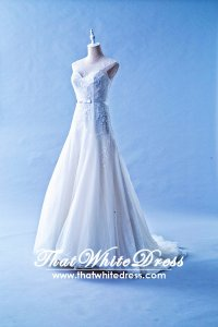 412W15 XJ Star Illusion neckline Zip Back Wedding Dress Designer Malaysia
