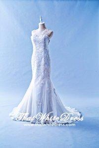 412W16 LL Illusion back asymetrical lace Wedding Dress Designer Malaysia