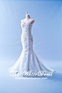 412W20 LL illusion back symmetrical lace Wedding Dress Designer Malaysia