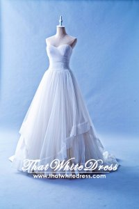 502W01 TY Pleated Top Princess Organza Wedding Dress Designer Malaysia