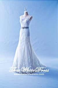 502W04 XJ Sleeveless Illusion Neck Lavender Belt Wedding Dress Designer Malaysia