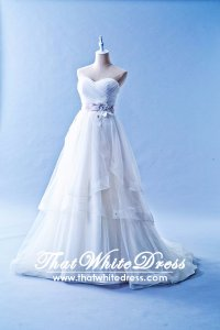 502W05 XJ Organza Pleated Sweet Heart Princess Ruffle Peach Belt Wedding Dress Designer Malaysia