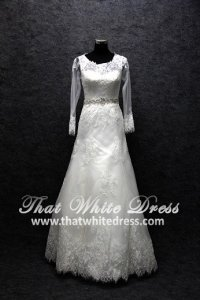 Designer wedding Gown S1502W14 XJ Long Sleeves Straight Neck Full Lace A line Crystal Belt