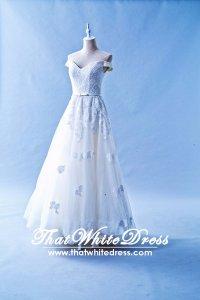 502W16 XJ Off Shoulder A line Grey Belt Wedding Dress Designer Malaysia