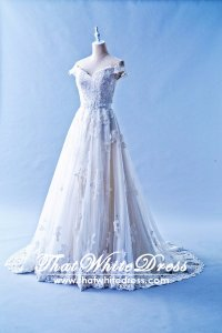 502W17 XJ Off Shoulder A line Belted A line Wedding Dress Designer Malaysia