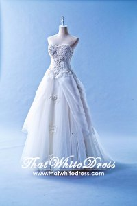 502W18 XJ Sweet Heart 3D Floral Motif Princess Wedding Dress Designer Malaysia