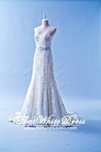 502W20 XJ A line Guipure Lace Full Wedding Dress Designer Malaysia
