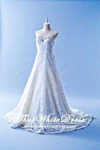 502W21 XJ A line Full lace Crystal Sweet Heart Wedding Dress Designer Malaysia