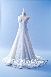 502W21 XJ A line Full lace Crystal Sweet Heart Wedding Dress Designer Malaysia