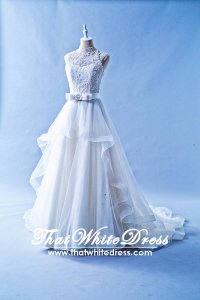 502W23 XJ High Neck Princess Ruffle Wedding Dress Designer Malaysia