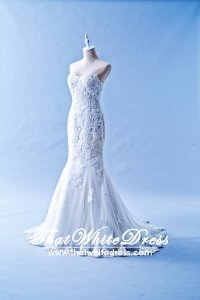 505W02 LL Sweet Heart Alencon lace Trumpet Beaded Wedding Dress Designer Malaysia